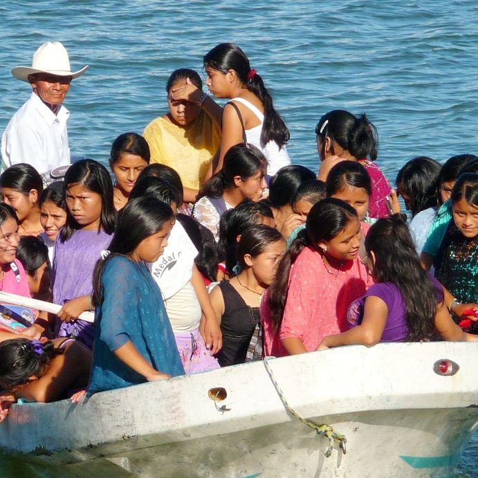 sunny school transport at Ak`Tenamit, Rio Lampara