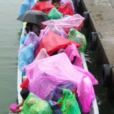 soaked school transport at Ak`Tenamit, Rio Lampara