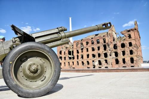 das einzige Gebäude, das im ehemaligen Stalingrad stehen geblieben ist