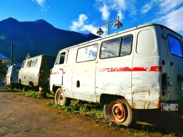 alte russische Krankenwagen in Khulo