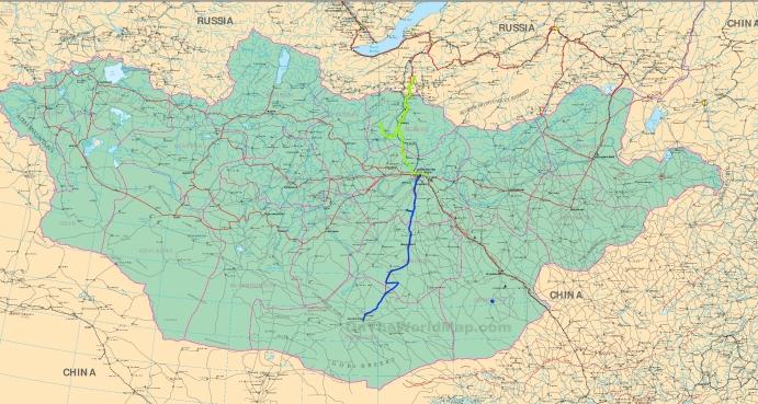 Route in der Mittel Gobi in Blau