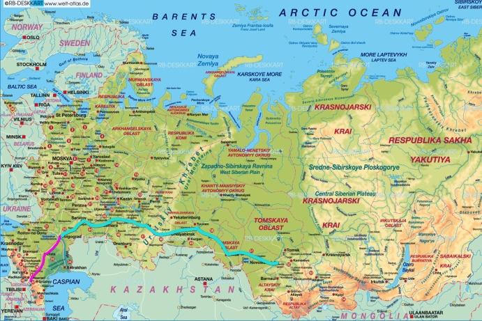 Route von Volgograd bis Novosibirsk