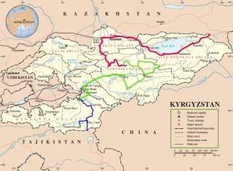 Route von Osh zur tadschikischen Grenze in Blau