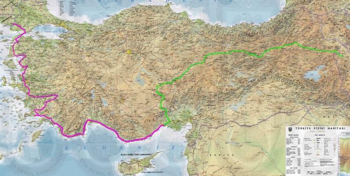Route Türkische Küste in Pink
